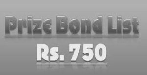 List of 750 prize bond
