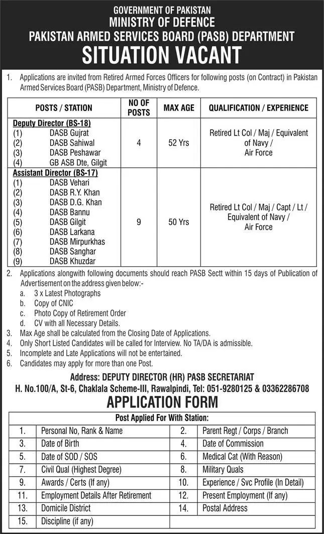 Today Retired Army Person Jobs 2021 Pakistan Armed Services Board PASB