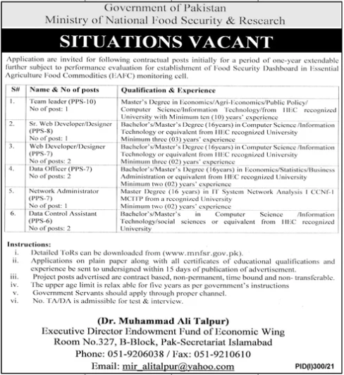 Today Government Jobs in Pakistan MNFSR Ministry of National Food Security And Research