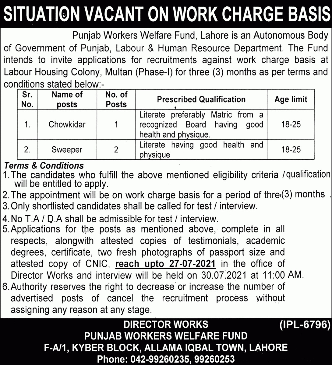 Today Government jobs in Lahore 2021 Punjab Worker Welfare Fund