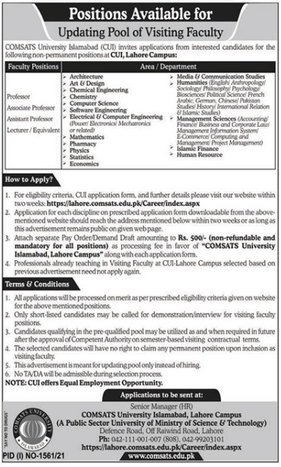 Latest Govt Teaching Job in Lahore At Comsats University Islamabad CUI