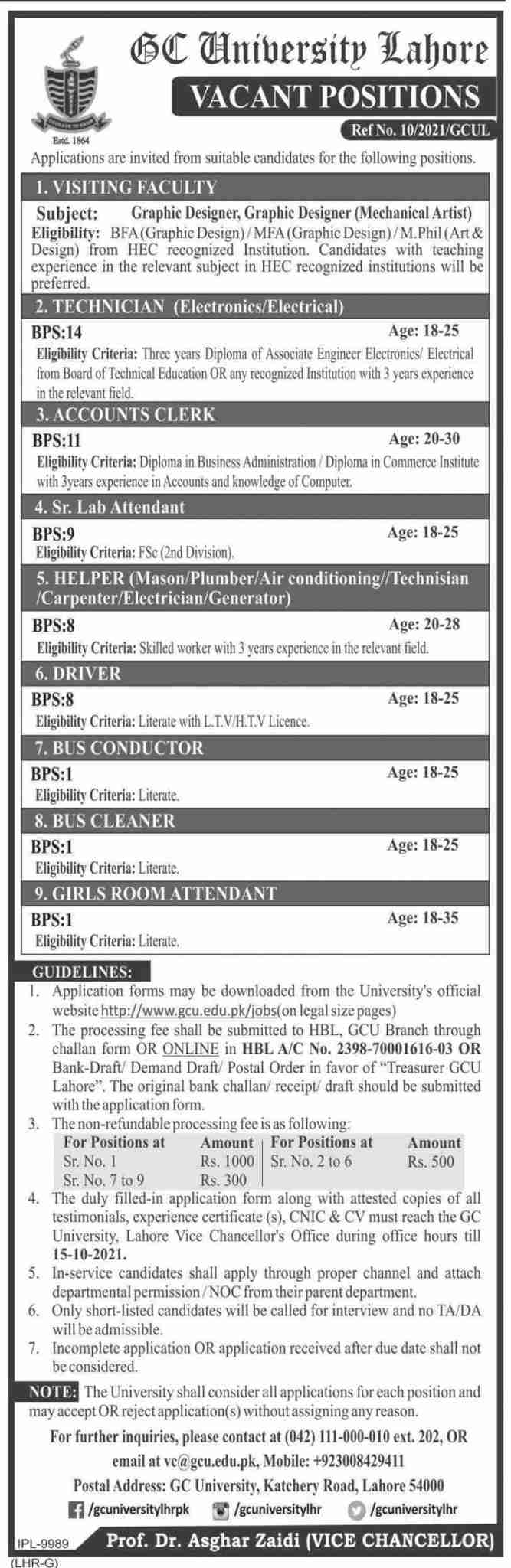 Govt Jobs in Lahore 2021 At Government College University GCU