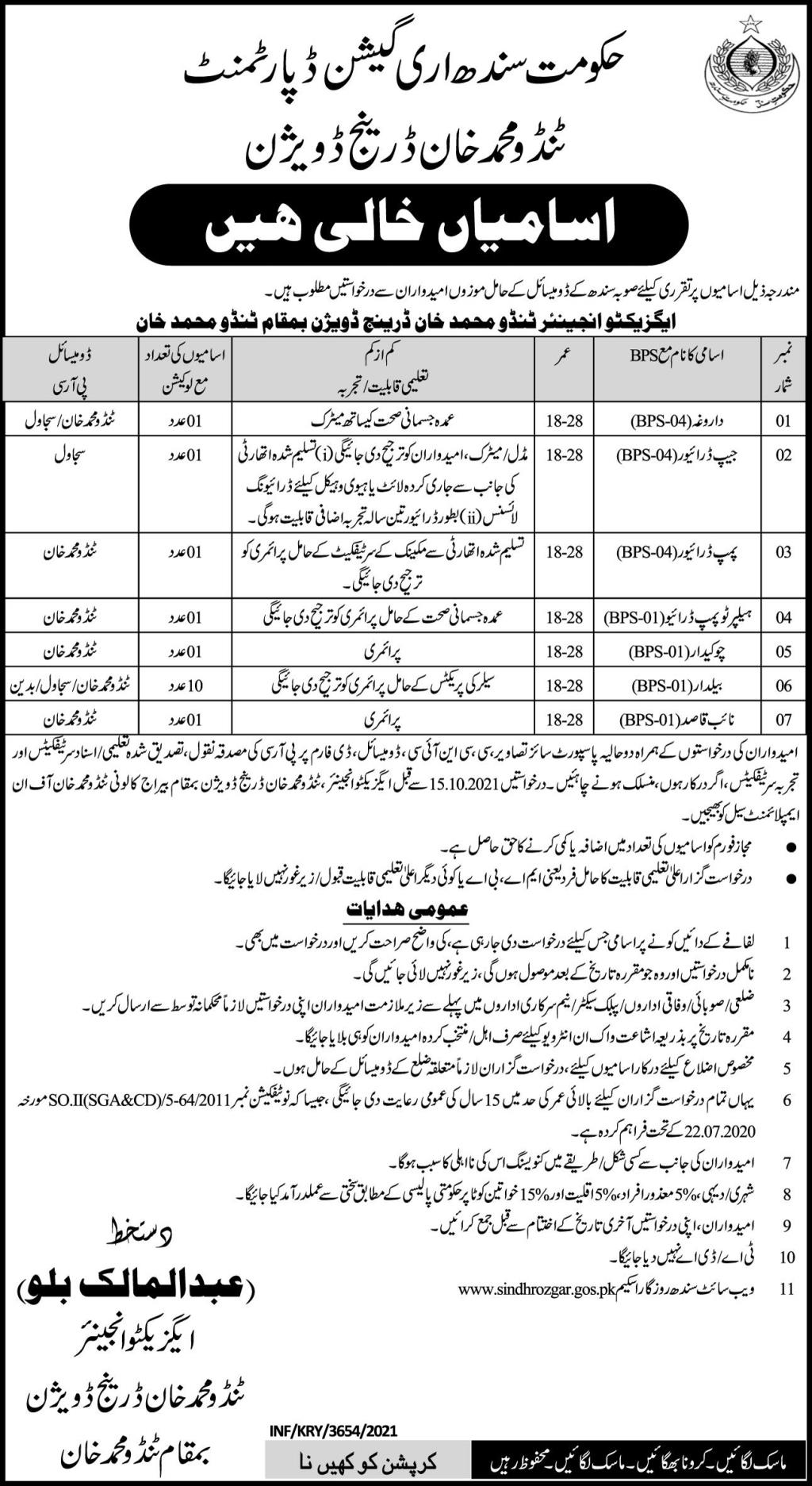 Sindh Government Jobs 2021 At Sindh Irrigation Department
