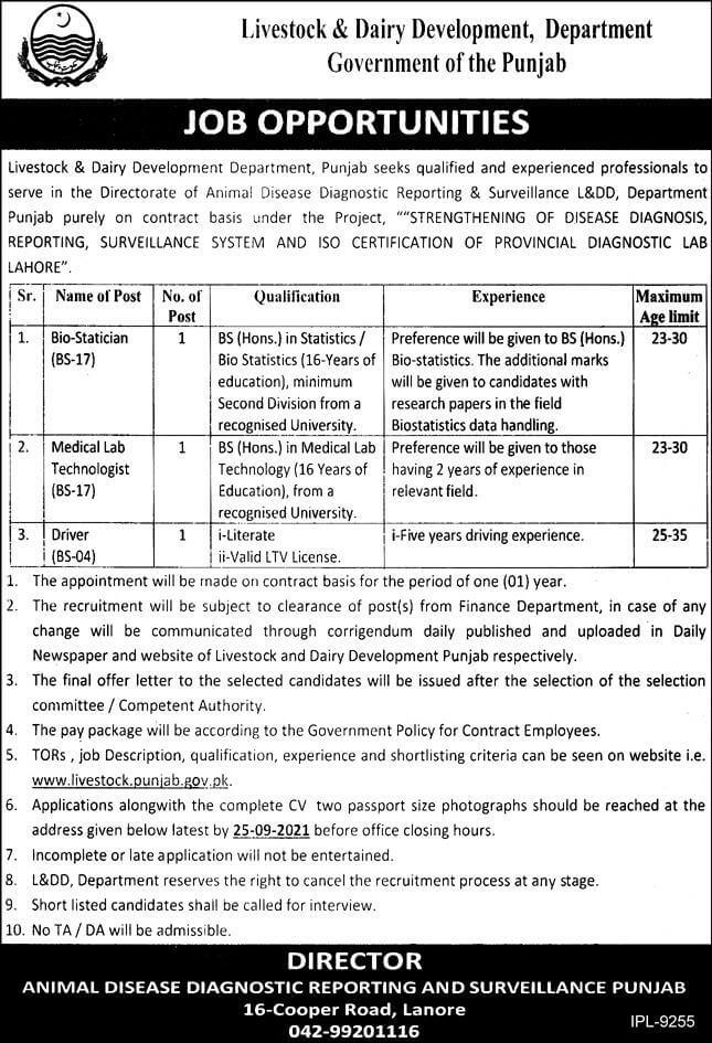 Government Driver jobs At Livestock and Dairy Development Department