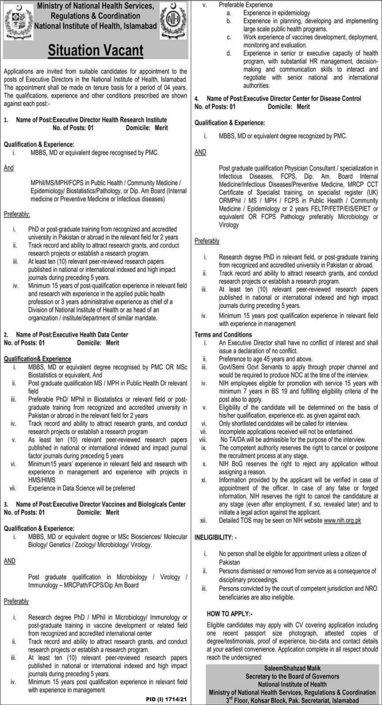 Latest Govt Jobs in Islamabad 2021 At Ministry of National Health Services