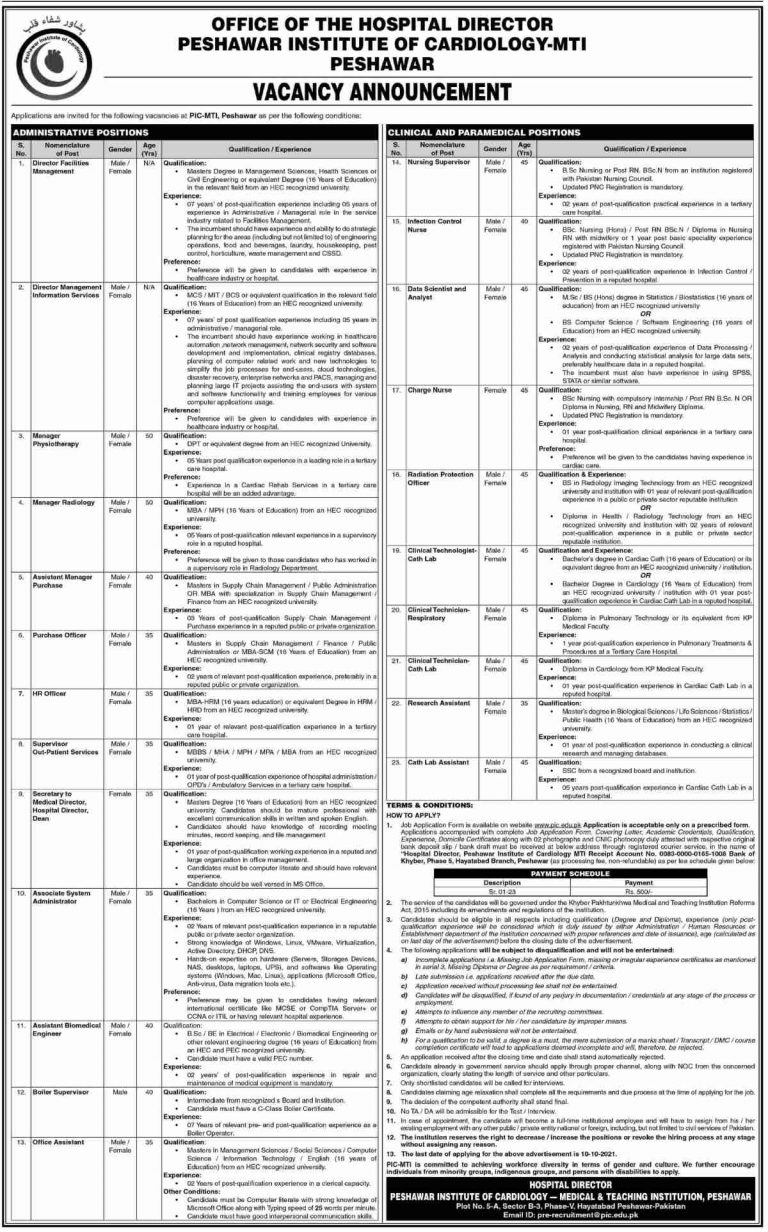 Government Jobs in Peshawar 2021 At Peshawar Institute of Cardiology