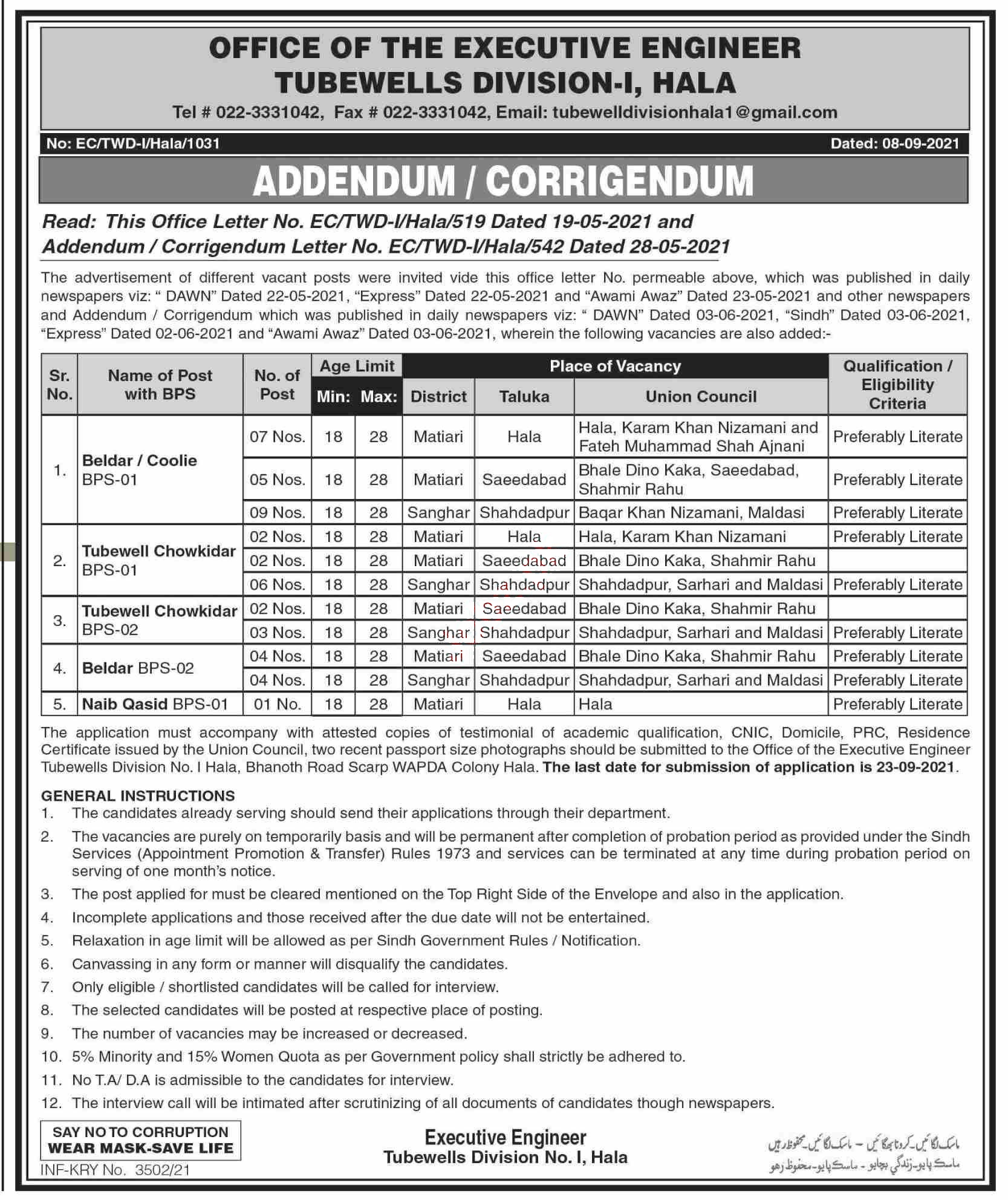 Sindh Government Jobs 2021 at Irrigation Department Sindh