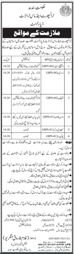 Sindh Govt Jobs At Transport and Mass Transit Department