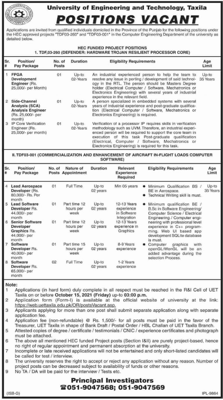 Latest Jobs in Punjab Today At University of Engineering and Technology