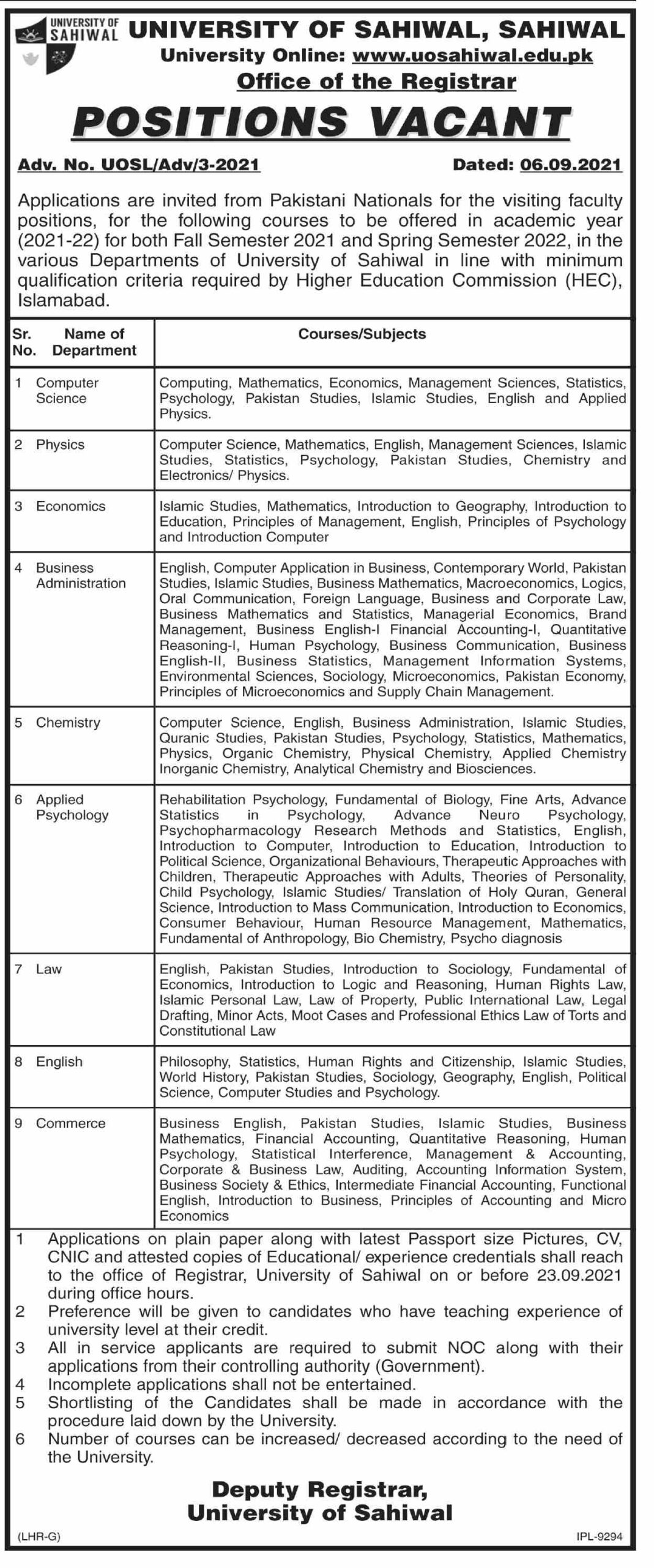 Today Govt jobs in Pakistan For Teachers At University of Sahiwal
