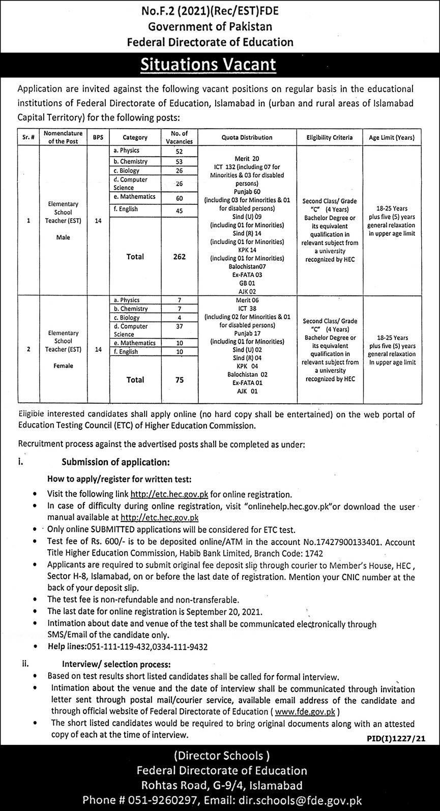 Govt Teaching Jobs in Pakistan 2021 Today At Federal Directorate Education