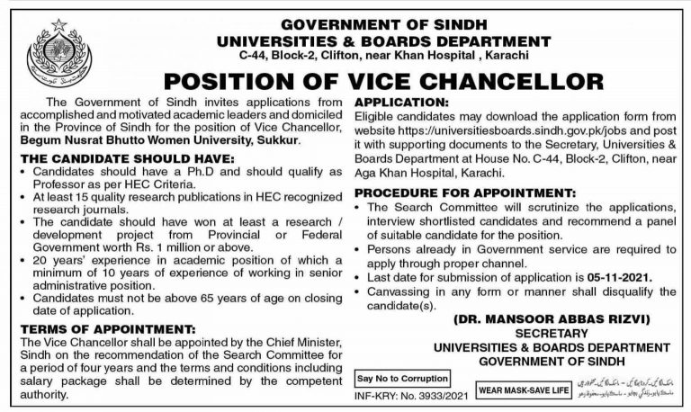 Government jobs in Hyderabad Sindh At BNBWU