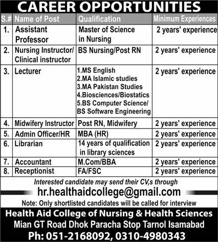 Government Teaching Jobs in Islamabad At Health Aid College of Nursing