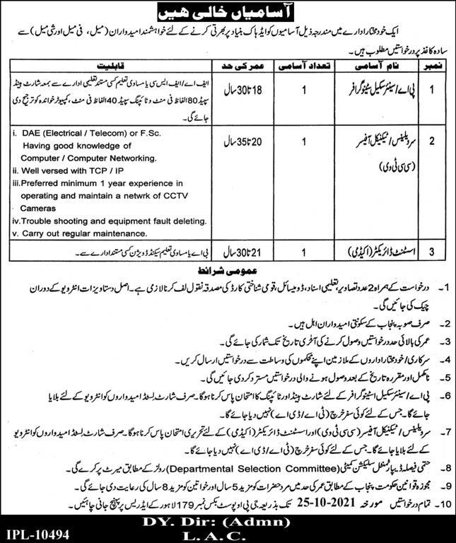 Govt Jobs in Lahore Today At Lahore PO Box 179 Jobs