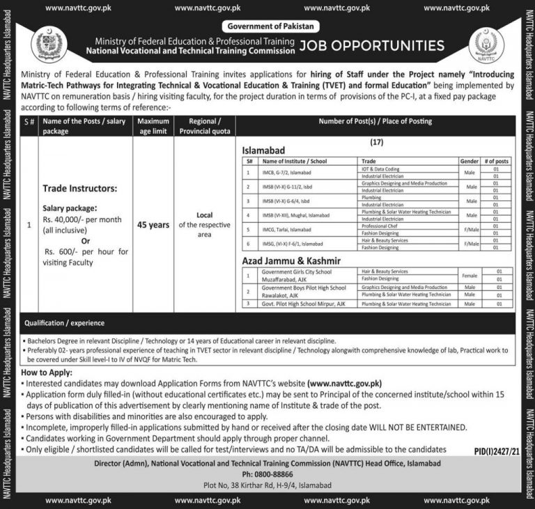 Today Govt jobs Islamabad 2021 At Ministry of Federal Education