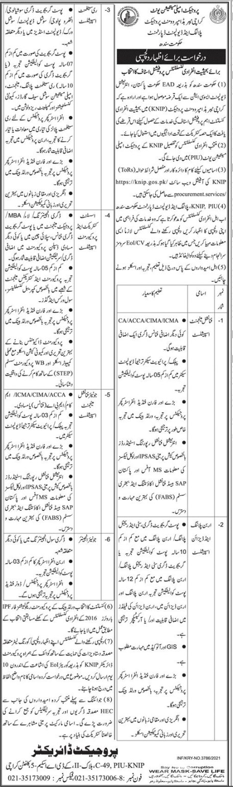 Govt of Sindh Jobs Today At Sindh Planning & Development Department