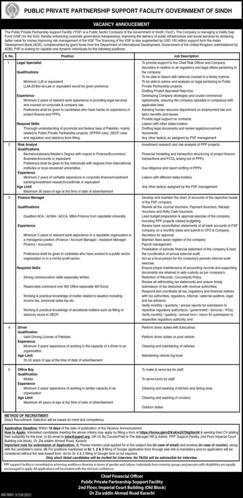 Govt Jobs in Karachi Today At Public-Private Partnership Support Facility