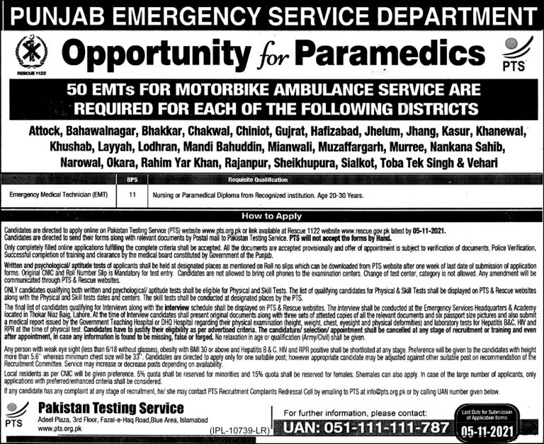 Latest Govt jobs in Punjab 2021 At Rescue 1122 Via PTS