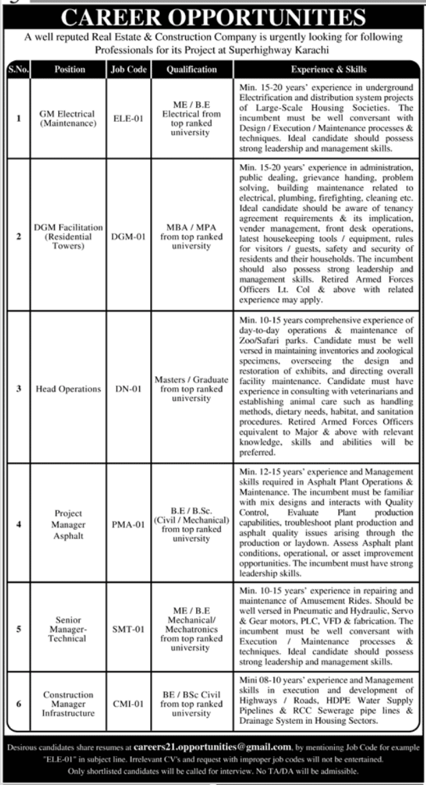 Government Jobs in Karachi Today At Real Estate and Construction