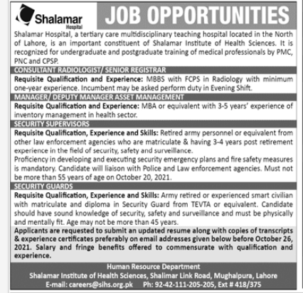 Latest Govt Jobs in Lahore At Shalamar Medical College and Hospital