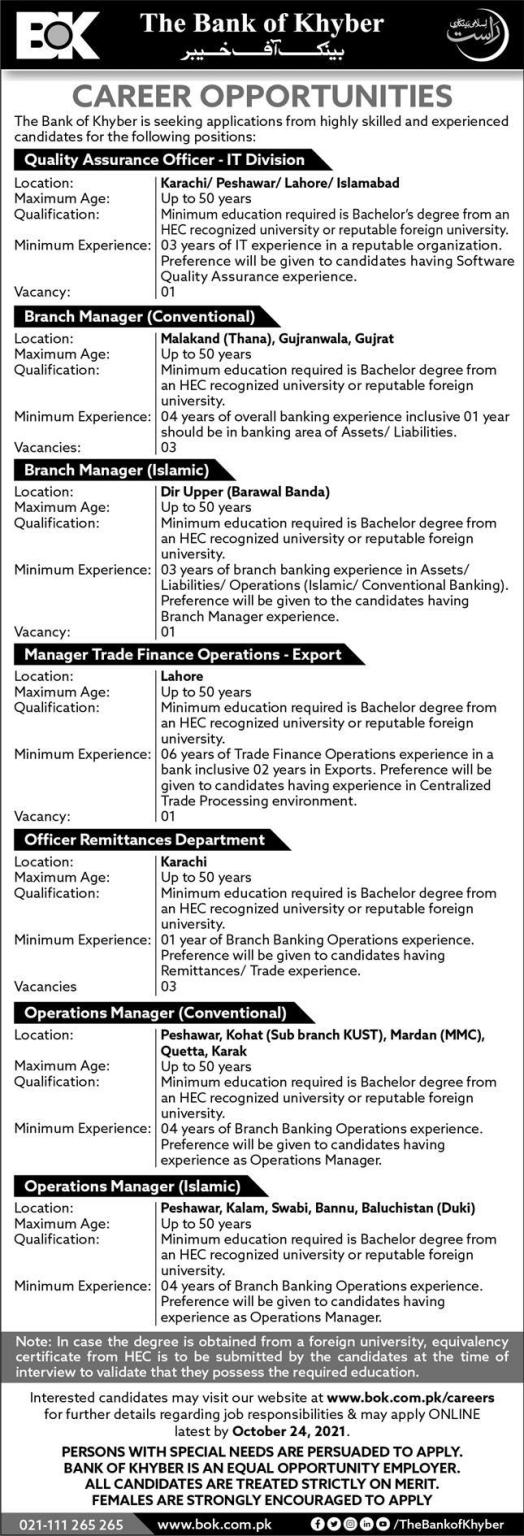 Bank of Khyber Jobs Today At BOK Pakistan