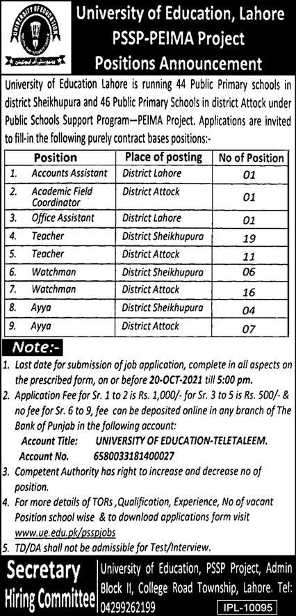 Govt Jobs in Lahore 2021 At University Of Education UOE