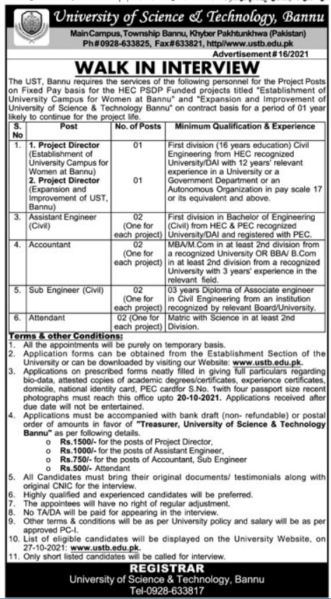Latest KPK Govt Jobs 2021 At University of Science and Technology
