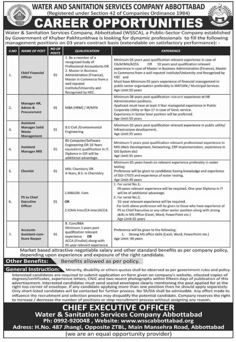 Government Jobs in Abbottabad Today At Water Sanitation Service